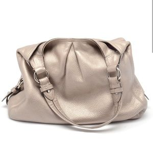 Coach Maggie Gold Metallic Leather Satchel Bag
